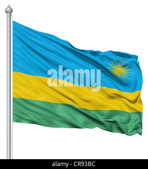 Flag of Rwanda with flagpole waving in the wind against white background - Stock Photo
