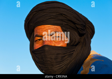 Tuareg man wearing the traditional tagelmust, Marrakesh, Morocco, Africa - Stock Photo