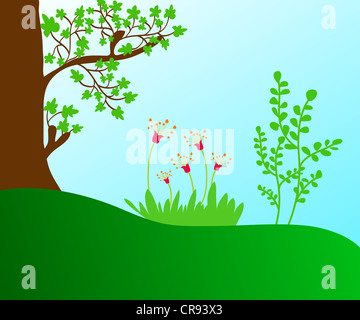 Trees and flowering plants illustration - Stock Photo