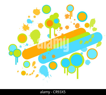 Colorful paint splashes and circles retro design - Stock Photo