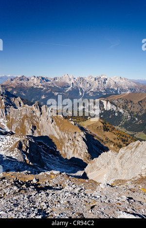View from the Bepi-Zac fixed rope route in the San Pellegrino valley above the San Pellegrino Pass - Stock Photo