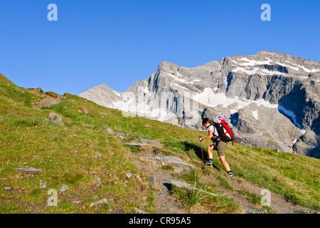Mountaineer climbing Hochfeiler mountain, passing the Pfitschertal valley, province of Bolzano-Bozen, Italy, Europe - Stock Photo