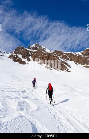 Ski mountaineers during ascent to Mt Staudenberg Joechl in Ridnaun above Schneeberg, Sterzing, Mt Staudenberg Joechl - Stock Photo