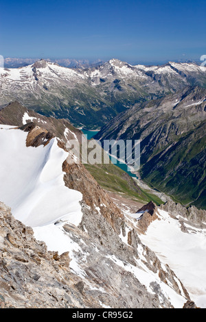 View from Mt. Hochfeiler, Pfitschertal valley, in the back the Zillertal valley and Schlegeisspeicher reservoir, - Stock Photo