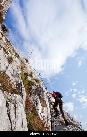 Female climber on the Che Guevara fixed rope route on Casale mountain in the Sarcatal valley, region of Lake Garda - Stock Photo