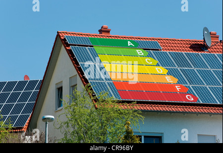 Roof with solar panels marked with the EU energy efficiency label, an indicator of the consumption of electrical - Stock Photo