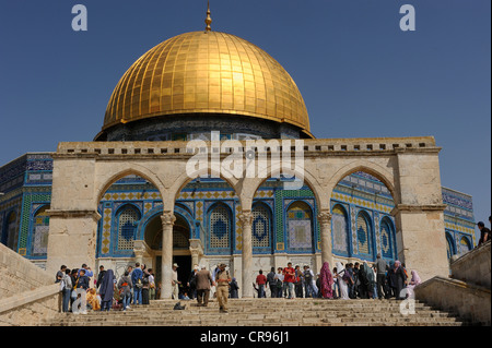 Stairs to the Dome of the Rock on the Temple Mount, Muslim Quarter, Old City, Jerusalem, Israel, Middle East - Stock Photo