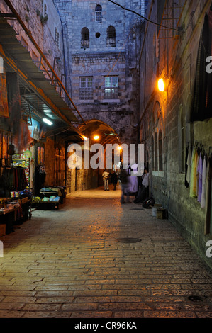 Evening mood in a bazaar alley in the Arab Quarter, old city, Jerusalem, Israel, Middle East - Stock Photo