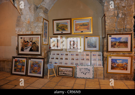 Sale of paintings in the Jewish Quarter, extension of the Cardo, old town, Jerusalem, Israel, Middle East - Stock Photo