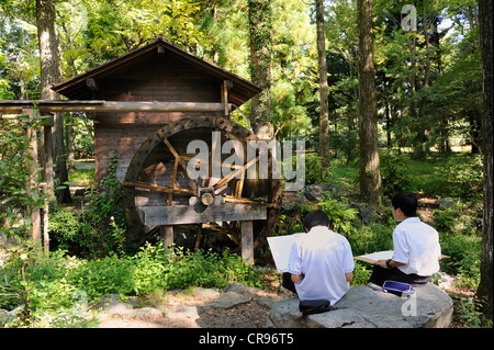 School children drawing plants and a rice mill all day at the Botanical Garden in Kyoto, East Asia, Asia - Stock Photo