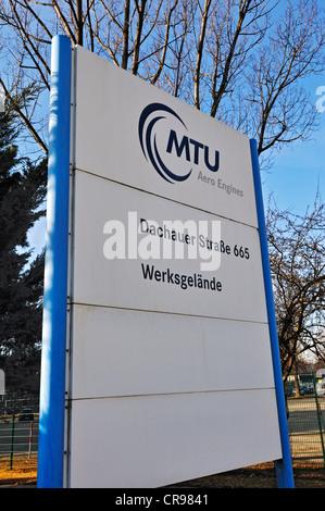 Sign, MTU Aero Engines, Munich, Bavaria, Germany, Europe - Stock Photo