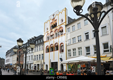 Row of houses, in the middle the Dreikoenigenhaus, an early Gothic residential building, Simeonstrasse, Trier - Stock Photo