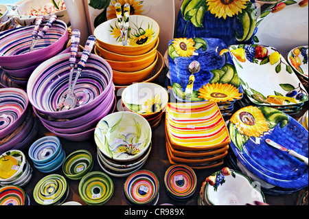 ... Colourful tableware Auer Dult market Munich Bavaria Germany Europe - Stock : colourful tableware - pezcame.com