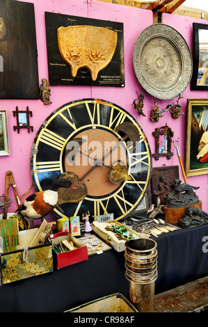 Large clock face and junk, Auer Dult market, Munich, Bavaria, Germany, Europe - Stock Photo