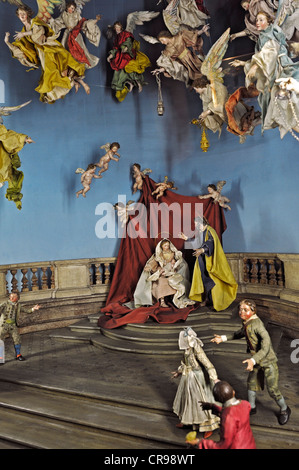 Crib collection, angels worshiping in a Nativity Scene, Naples from circa 1780, Bavarian National Museum, Munich, - Stock Photo