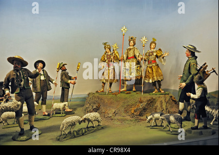 Crib collection, proclamation to the shepherds from a Nativity Scene in North Tyrol from circa 1850, Bavarian National - Stock Photo