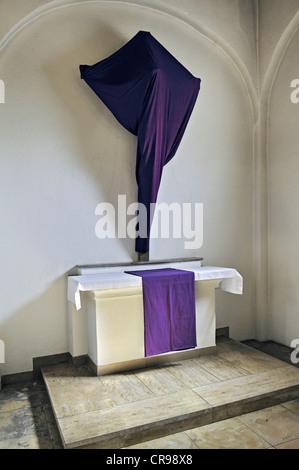 Veiled cross in Good Friday, Heilig-Geist-Kirche Church of the Holy Spirit, Viktualienmarkt, Munich, Bavaria, Germany, - Stock Photo