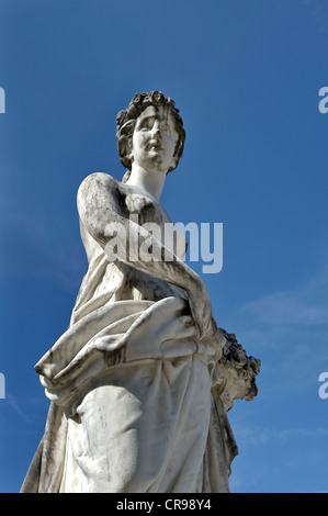 Figure at the Fortunabrunnen fountain, Schloss Herrenchiemsee palace, Bavaria, Germany, Europe - Stock Photo