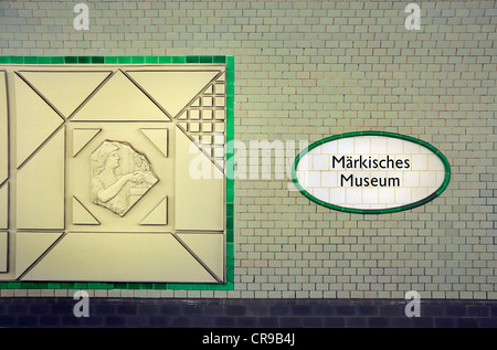 Berlin, Germany. U-Bahn (underground railway). Markisches Museum station - name in tiles - Stock Photo