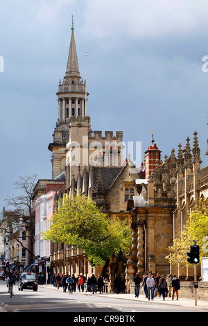 Downtown, High Street, Lincoln College Library (tower). Oxford, Oxfordshire, UK, Europe - Stock Photo