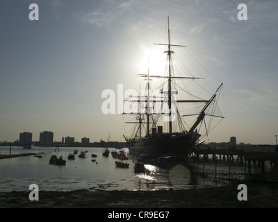 HMS Warrior, Portsmouth, Hampshire, UK, a few hours before sunset. - Stock Photo