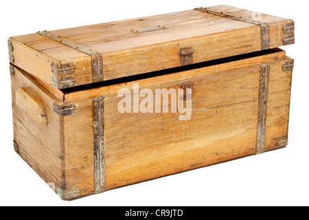 vintage wooden chest or toolbox with brass hardware isolated on white - Stock Photo