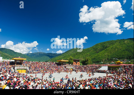 Autumn Tsechu festival at Trashi Chhoe Dzong, Thimpu, Bhutan, Asia - Stock Photo
