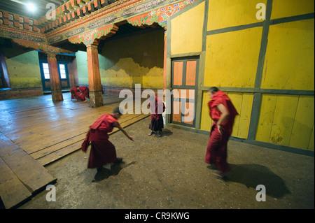 boy monks, Paro Rinpung Dzong (1644), Paro, Bhutan, Asia - Stock Photo