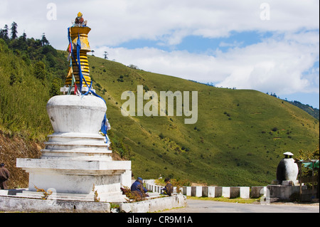 stupa at Pele La pass (3420m), Black Mountains, Bhutan Asia - Stock Photo