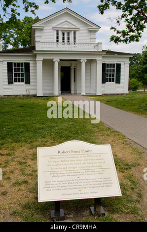 Michigan, Wyandotte. Greenfield Village. Poet Robert Frost's Home, c. 1835, built in Ann Arbor, Michigan. - Stock Photo