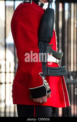Guardsmen outside St James palace. The Mall, London, UK. - Stock Photo