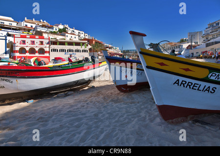 Europe Portugal, Algarve, Boats of fishermen on the beach of Carvoeiro - Stock Photo