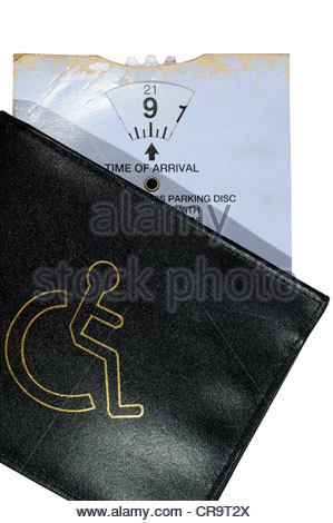 Disability Blue badge wallet and parking clock, England - Stock Photo