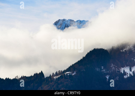 Snow and fog covered peaks in the Allgaeu Alps - Stock Photo