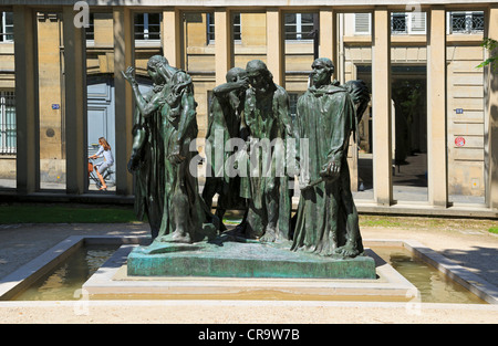 The Burghers of Calais, Musee Rodin, Paris. Bronze sculpture by Auguste Rodin. This version of the sculpture was - Stock Photo
