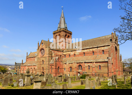 12th century Romanesque Saint Magnus cathedral in Kirkwall, Orkney Islands, Scotland, UK is most northerly in Britain - Stock Photo
