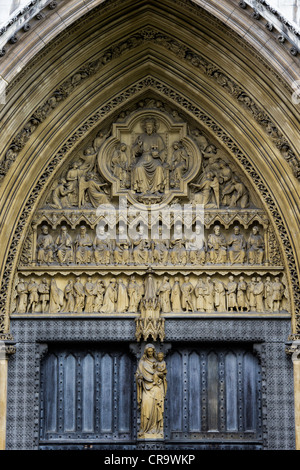 North entrance stone carvings. Westminster Abbey. London. England - Stock Photo