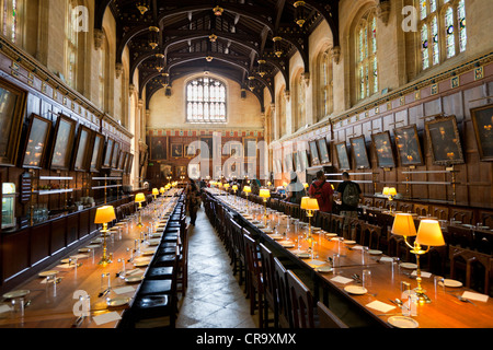 Christ Church college Great Hall dining room Oxford University Oxfordshire England UK GB EU Europe - Stock Photo