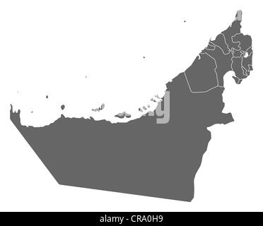 Political map of the United Arab Emirates with the several emerats. - Stock Photo