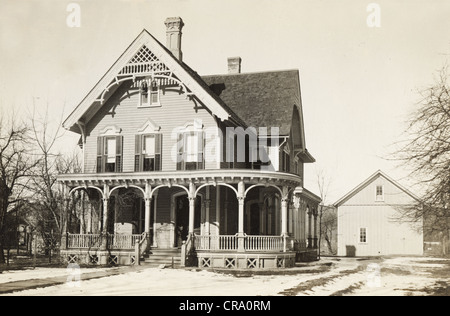 Victorian Residence in the Snow - Stock Photo