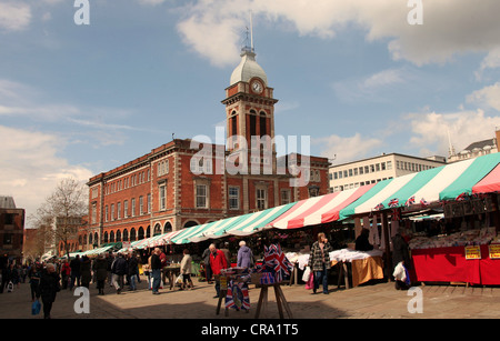 Chesterfield Open-Air Market in front of its Historic Market Hall - Stock Photo