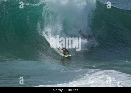 A Body Surfer Riding A Huge Wave At The Wedge Newport