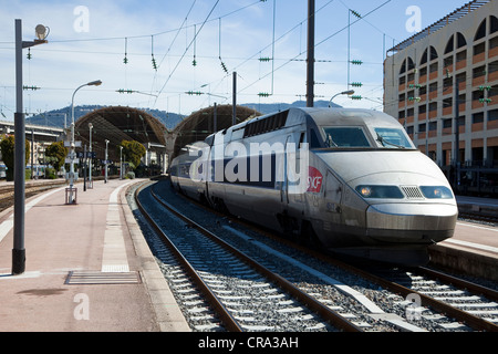 High speed French train stopped at Nice railway station, France - Stock Photo