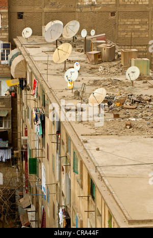 Satellite dishes on a flat roof, Cairo, Egypt, Africa - Stock Photo