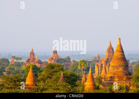 View of the pagodas and temples of the ancient ruined city of Bagan, Myanmar, Burma, Southeast Asia, Asia - Stock Photo
