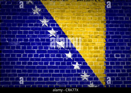An image of the Bosnia and Herzegovina flag painted on a brick wall in an urban location - Stock Photo