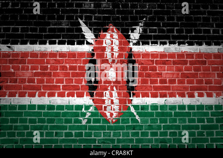 An image of the Kenya flag painted on a brick wall in an urban location - Stock Photo
