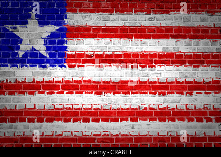 An image of the Liberia flag painted on a brick wall in an urban location - Stock Photo