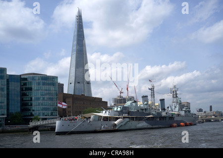 HMS Belfast Moored alongside Shard of Glass between London Bridge and Tower Bridge -1 - Stock Photo