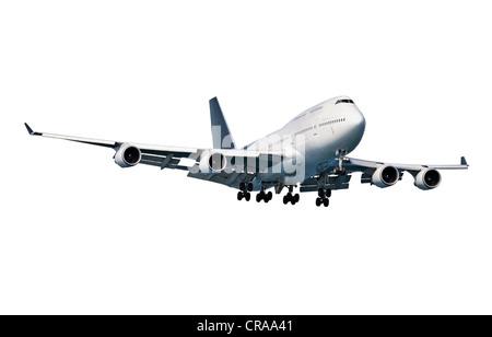 Modern passenger aircraft isolated on white background - Stock Photo